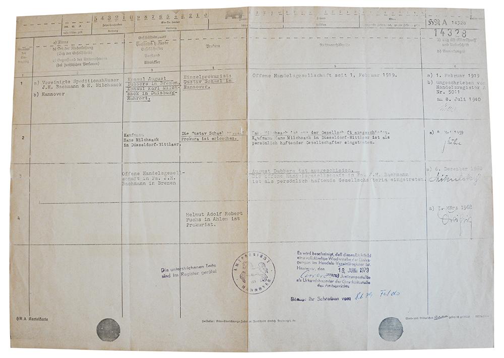 Registereintrag von 1919